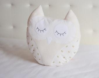 White Owl nursery pillow, white owl cute pillow
