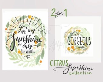 Printables - Watercolor Citrus Sunshine 2 in 1