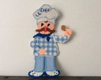 "Vintage ""Le Chef"" Crochet Kitchen Decor / Cross Stitched / Kitchen Key  Hanger"