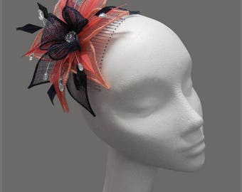 Mother of the bride navy & coral diamanté sinamay fascinator, made to order, wedding, bridesmaid headpiece, comb slide, headband, aliceband