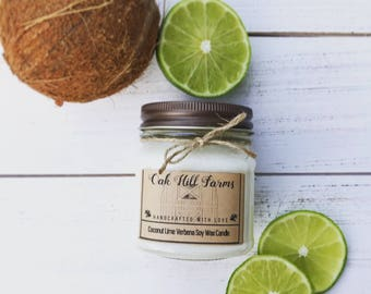 COCONUT LIME VERBENA, soy wax candle, fresh fragrance, hand poured, all natural, mason jar candle, coconut, lime, tropical, island