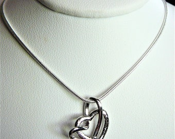 Sterling Silver Necklace Double Heart Pendant