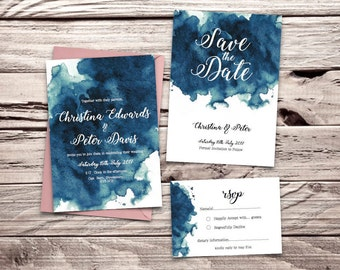 Teal Blue Watercolour Printable Wedding Invitation Set