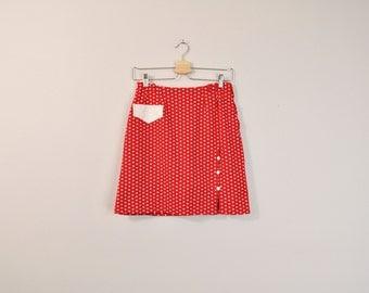 Vintage 60s Skort, 1960s Skirt, 1960s Shorts, Polka Dot Skort, Polka Dot Skirt, Red Skirt, Red Skort, Retro Skort, Medium / Large