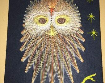 Spectacular Retro 1970 MCM  OWL BIRD - C00L String and Nail Art 18X11
