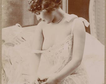 Belle Epoque Beauty Undresses | Bedside French Nude | Elegant Coiffure | Slipping Ribbon | Lace Lingerie | Turn of the Century | Risque |
