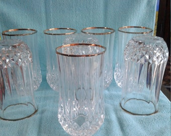 Crystal Diamond Cut Gold Rimmed Vintage Glasses Set of 8