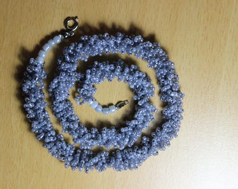 Coral handmade crocheted necklace with beads