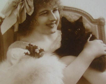 SALE Vintage RPPC of a Girl and Her Cat #3