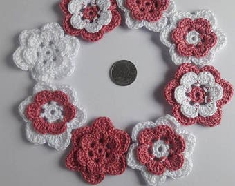 Crocheted Layered Flower Appliques (Set of 8)