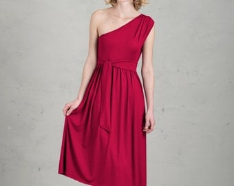 Short Bridesmaid Dress - Lenja, Raspberry Red