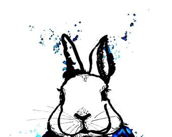 Bunny art print, print, print