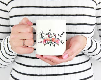 Gifts for Bridesmaid from Bride, Floral Bridesmaid Gift, Bridesmaid Mug, Bridesmaid Present, Bridal Party Gifts, Wedding Party Gifts