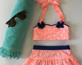 Girls Pink Flowered Two Piece Swim Suit
