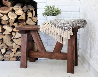 Handcrafted A-Frame Wood Bench
