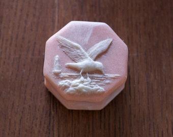 Peachy Pink Coloured Soapstone Trinket Box