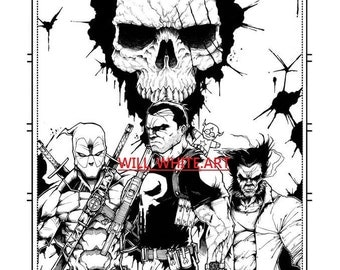 Deadpool, The Punisher And Wolverine Black And White A3 Print