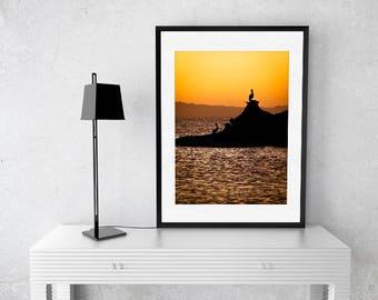 Pelican and sunset | Bird and landscape photography, seaside | Art print original | Decorate Nature | Animal silouhete | IKEA frame, horizon