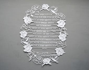 Wedding Vows Personalised Papercut, Marriage / Engagement  Rose Cut out art, Paper cut Gift, Papercutting