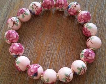 Porcelain Pink Floral Bracelet