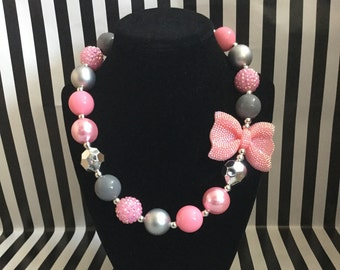 Pink and Gray Bubblegum Bead Necklace