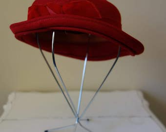 Vintage 1950s Hat Red Wool Hat With Velvet Detail 1950s Vintage
