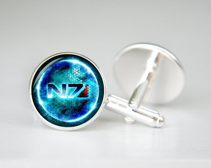 N7 symbol Cufflinks, Mass Effect inspired cuff links, Personalized Men Wedding Jewelry, gift for dad