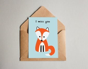 i miss you card, fox card, printable card, instant download, fox illustration, postcard, animal art, cute card