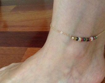 Semi-Precious Stone Anklet, 14K gold filled, handmade.