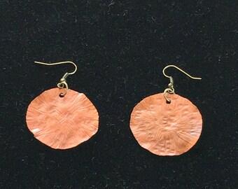 Copper disc earring