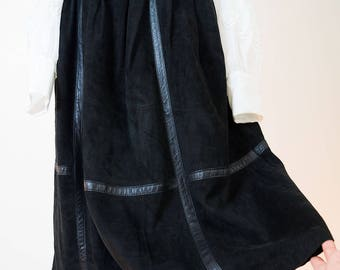 Vintage original nappa leather - Suede, leather skirt, black, size 36