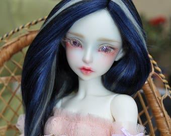 Midnight brushed yarn msd bjd wig