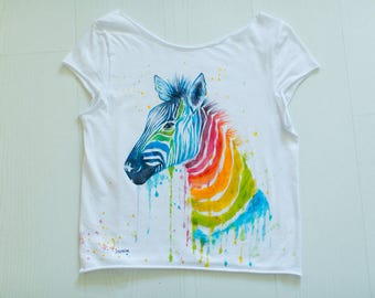 Hand-painted T-shirt with rainbow Zebra, Watercolor effect.