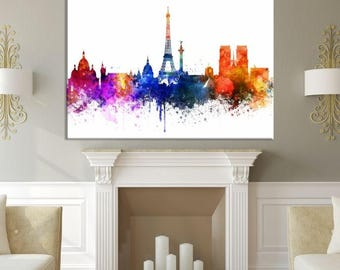 Watercolor Paris Citiescape Art Canvas Print, Paris Wall Art, Paris Print, Paris Art, Paris Canvas Print, Watercolor Eiffel Tower