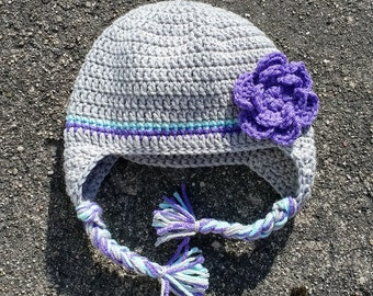 Baby Girl Hat with Braids // Crocheted Baby Hat