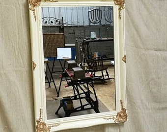 REDUCED vintage mirror, shabby chic mirror, distressed mirror, mirror with mouldings,  REDUCED