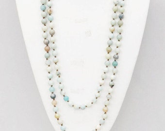 """Natural frosted Matte Amazonite healing Meditation Stone 60"""" Long Hand Knotted Necklace"""