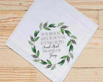 Custom Quote Handkerchief, Wedding Handkerchief, Bible Verse Handkerchief, Parents Thank you,  Personalized Handkerchief, Printed Hankie, 18