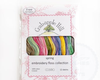 """Cosmo Embroidery Floss, Collection """"Crab·apple Hill Embroidery Floss"""", assortiment: Spring, by LECIEN, Made in Japan"""