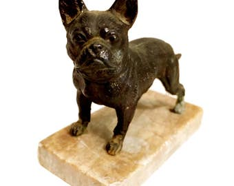 French Bulldog Cast Metal on Marble Stand