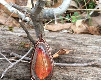 Red Leaf Resin Pendant