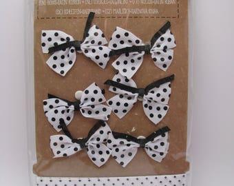 Bow and satin ribbons - white - black - dots
