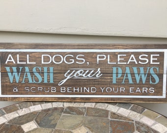 Dog Bath Sign, Dirty Dog, Dog Lovers Art, Wash your Paws