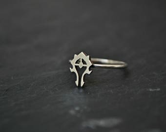 World of Warcraft WoW Jewelry Ring, Horde Jewelry Ring , Orc Gamer jewelry, 925 Sterling Silver, Cool Geek Gift