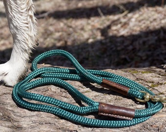 Rope and Leather Dog Leash ~ Hunter Green, Brown Leather, Brass Snap ~ 5 Foot Length ~ Durable, Soft ~ Woodland Lead
