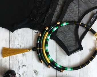 Green Black and Gold Rope Boho Necklace Tribal