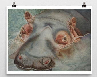 Hippo Art Hippo Watercolor Hippo Painting Hippo Wall Art Animal Art Hippo Portrait Wall Art Decor Child's Room Art