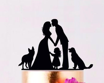 Family Cake Topper with dogs, Custom Wedding Topper with girl, Bride and Groom with doughter, Cake Silhouette, Couple with children
