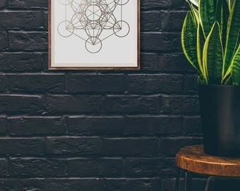 Metatron's Cube, Wall Art, Gold, Decor, Print, Sacred, Geometry