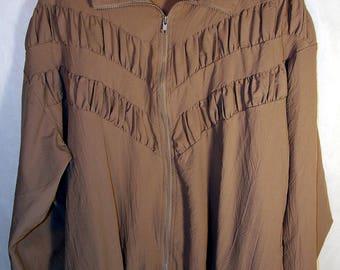 80s Granny Chic Windbreaker Zip Jacket Blair Mauve Beige Size Medium Large XL 90s Vintage Retro Bingo Hall Track Jacket Ruffle Pockets